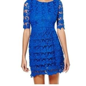 Royal Blue Crochet Lace Mini-dress